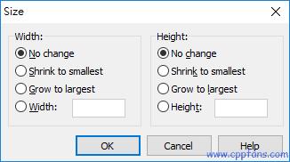 Width: 宽度,所有选取的控件都做如下处理:-调整窗口和控件的大小